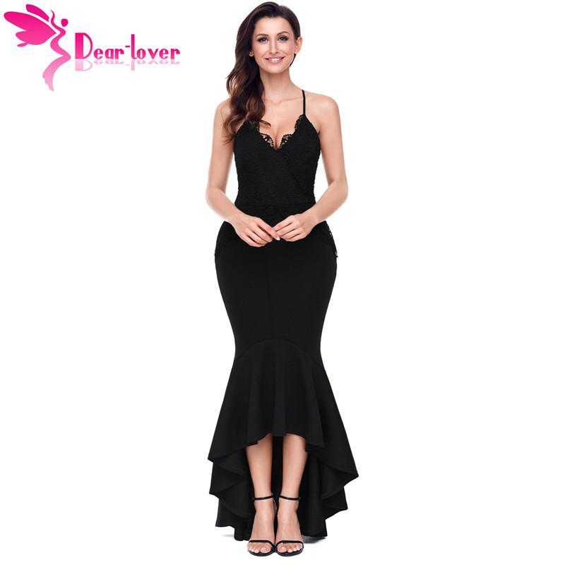 5ba1783c292df Dear Lover Sexy Backless Party Gowns Black Red Crisscross Spaghetti Straps  High-low Mermaid Dress Vestido Longo de Festa LC61842