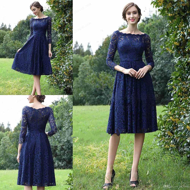 822e590b2b5e4e Bleu marine foncé dentelle mère de la tenue de mariée manches trois-quarts  longueur au genou dentelle complète courte robe du marié robe de ...