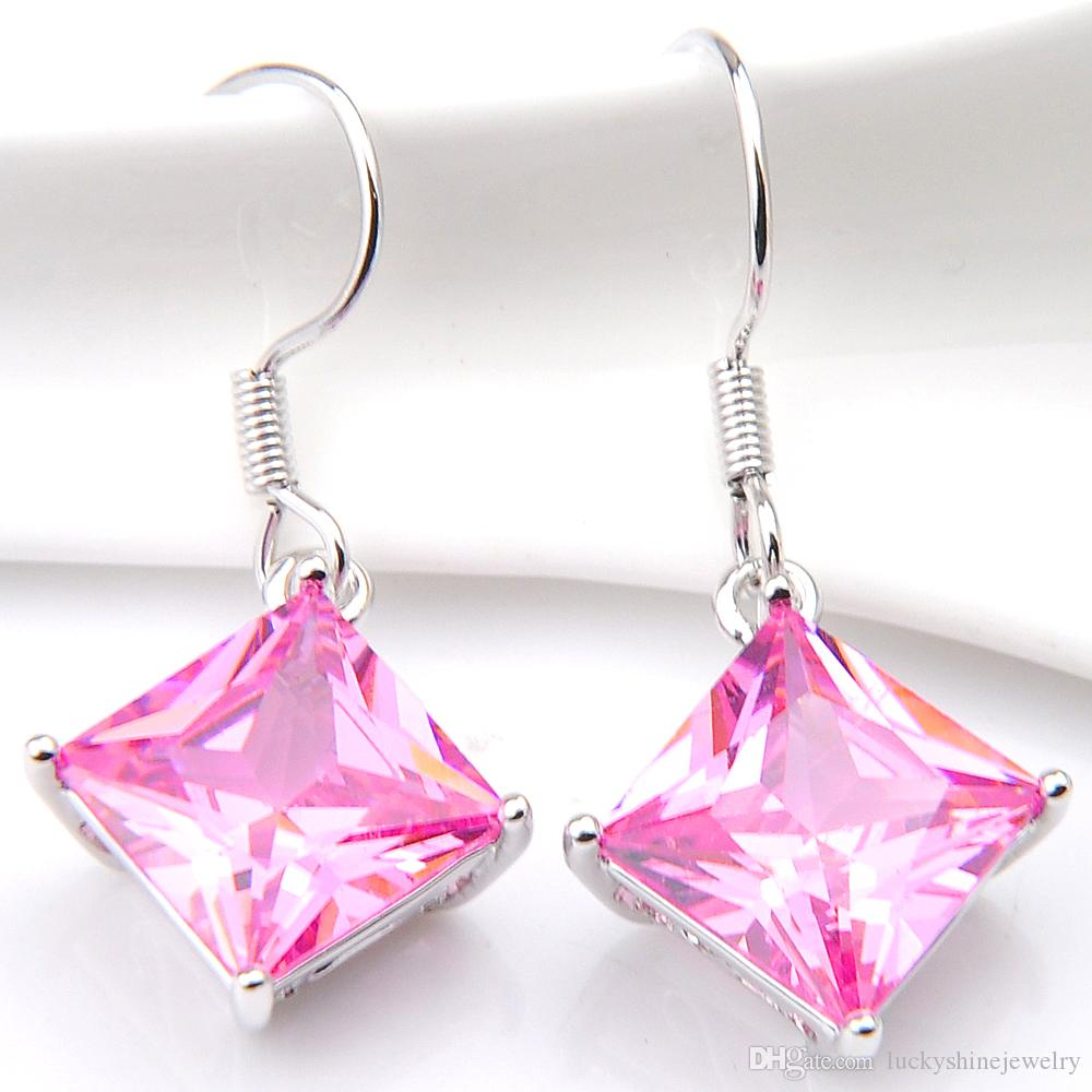 10 Prs Luckyshine Classic Florid Fire Square Mystic Pink Kunzite Cubic Zirconia Gemstone Silver Dangle Earrings for Holiday Wedding Party