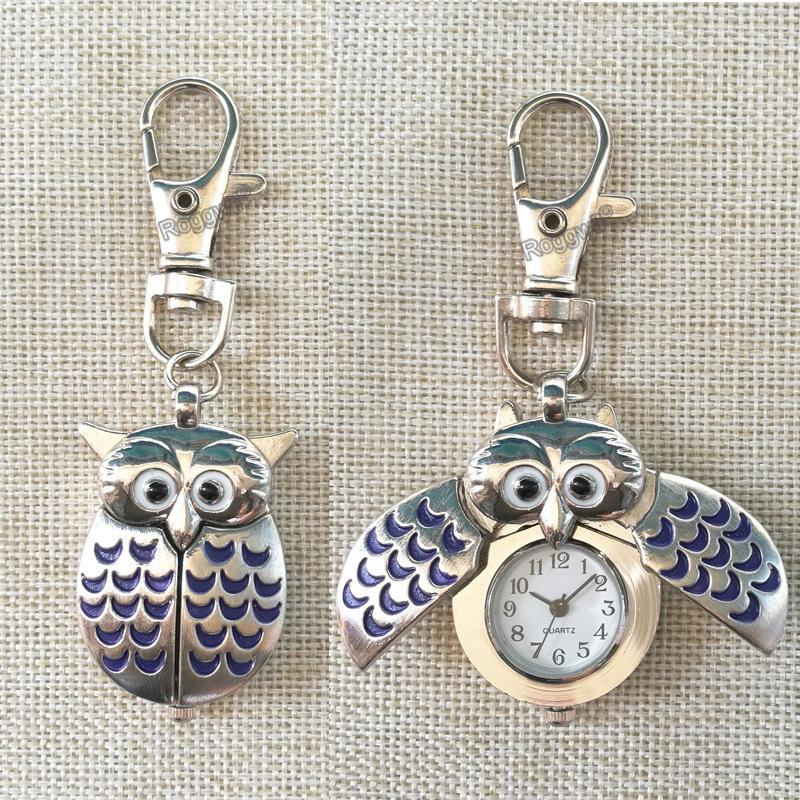 Personalized Custom Name Engraved Creative Gifts Battery Included Clip On Owl Double Open Wings Cute Key Lobster Clasp Fob Watch Unique Pocket Watches ...