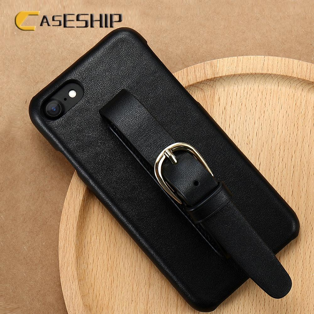 online store 69acf 3830d Caseship Genuine Leather Phone Cases For Iphone 7 Plus Adjustable Wrist  Strap Luxury Protective Cases For Iphone 7 8 6 Plus Capa