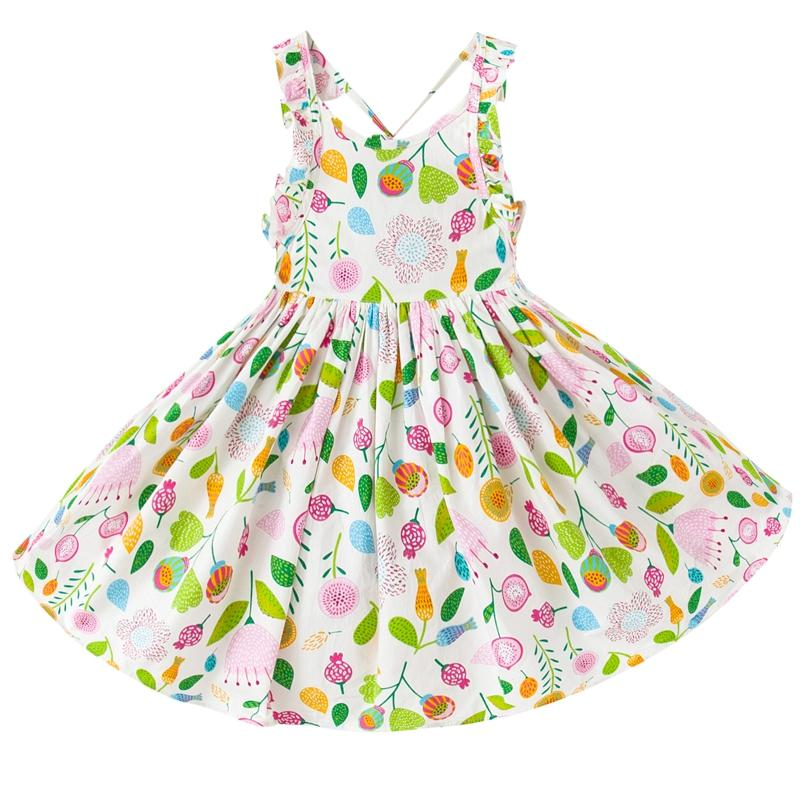 Floral Beach Baby Girls Dress clothing 2017 Summer Party Backless Dresses Girls Vintage Toddler clothes