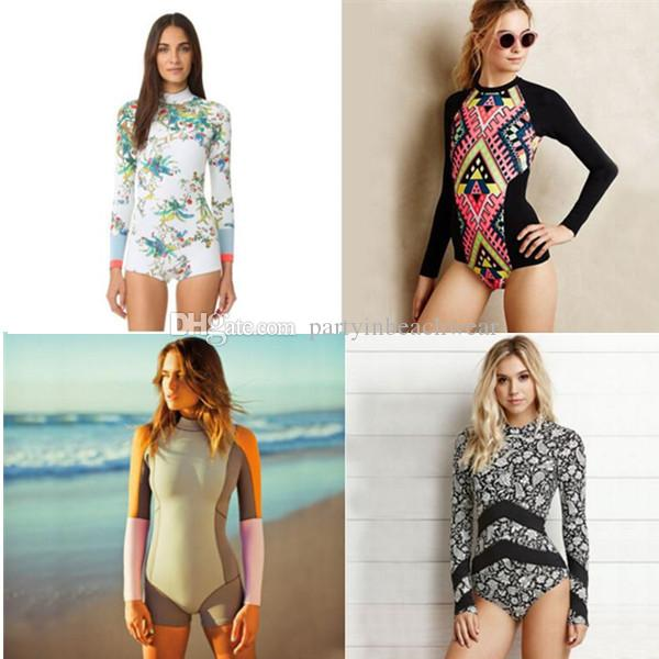 f7c20a1fde2e5 2019 New Printed Swimwear Bikinis Rash Guards Sexy Fashion Long Sleeve  Women Padded Bra One Piece Swimsuit Swimming Beach Summer Bathing Suits  From ...