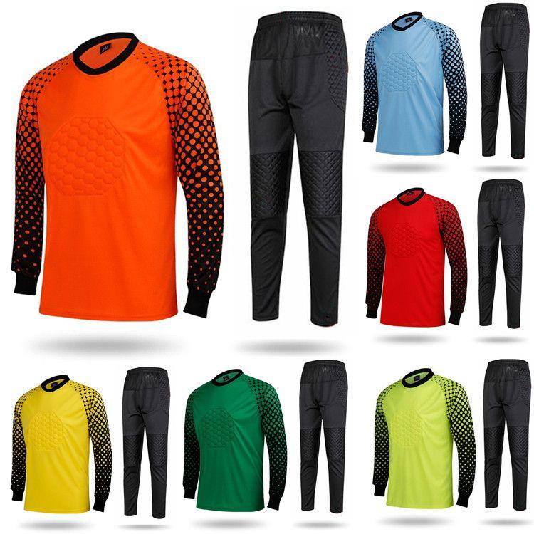 7e195841176 2019 2018 Adult Soccer Goalkeeper Jersey Sets Long Sleeve Suits Sponge  Protector Suit Camisetas De Futbol Top Quality Football Goalkeeper Jerseys  From Zlhh, ...