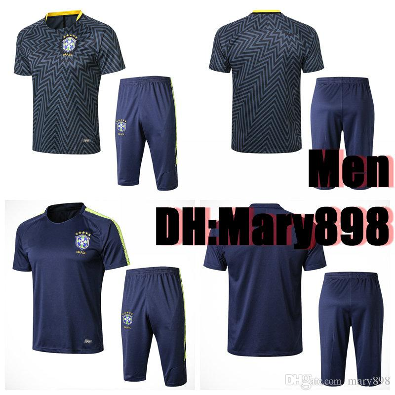 14d9bab8417 Best Quality 2018 Russia World Cup Brazil Short Sleeve Training Suit ...