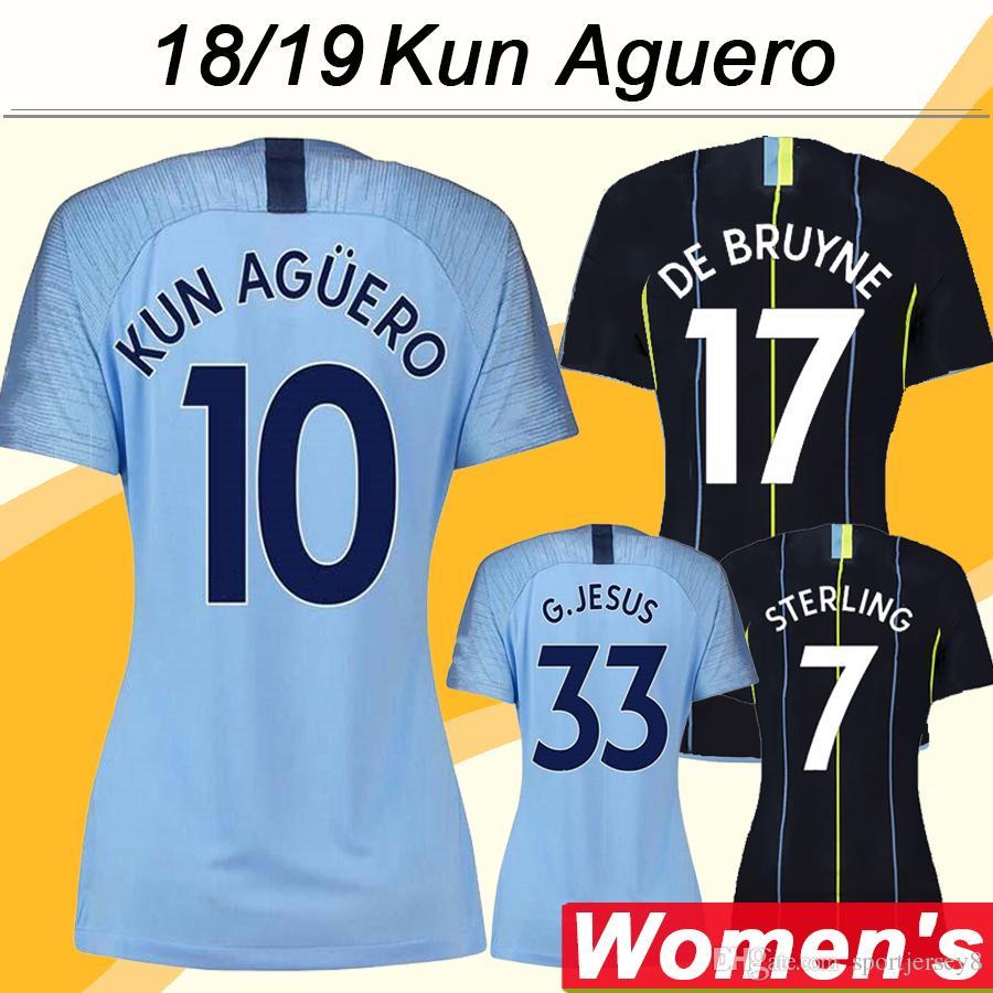 8be7a16f8 2019 2018 19 KUN AGUERO Women Soccer Jerseys DE BRUYNE STERLING SILVA Home  Away Football Shirts Top Quality G.JESUS MENDY Lady Short Uniforms From ...