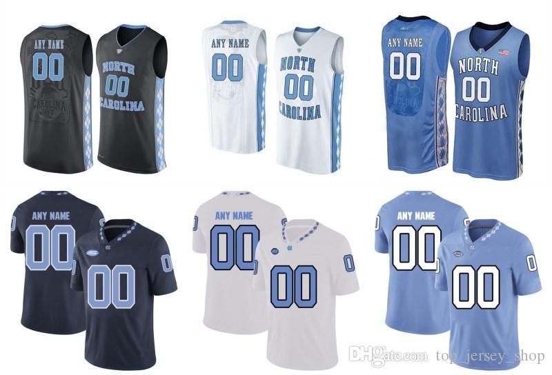 online retailer cbb34 da52b Mens Custom North Carolina Tar Heels College football jerseys BLUE White  BLACK Stitched Personalized Basketball Jerseys Customized
