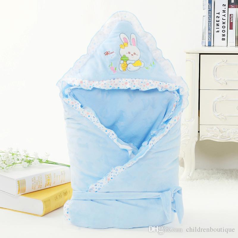 2018 Newest Infant Baby Sleeping Bag Cartoon Cat Embroidery Envelope For Newborn Swaddle Wrap Baby Crystal Velvet Blanket Sleepsacks