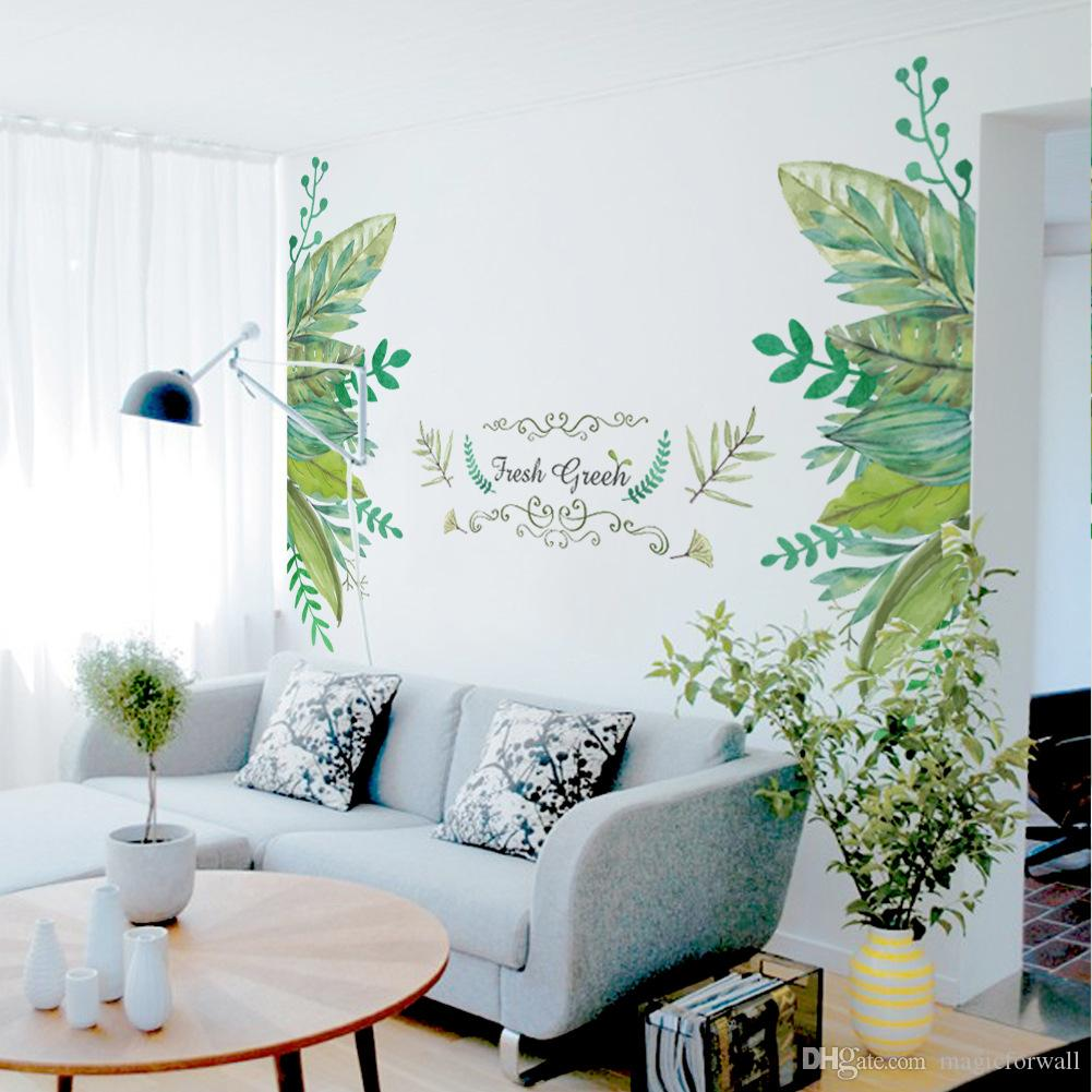 Decorating With Stripes For A Stylish Room: European Style Leaves Fake Metal Scroll Fresh Green Wall