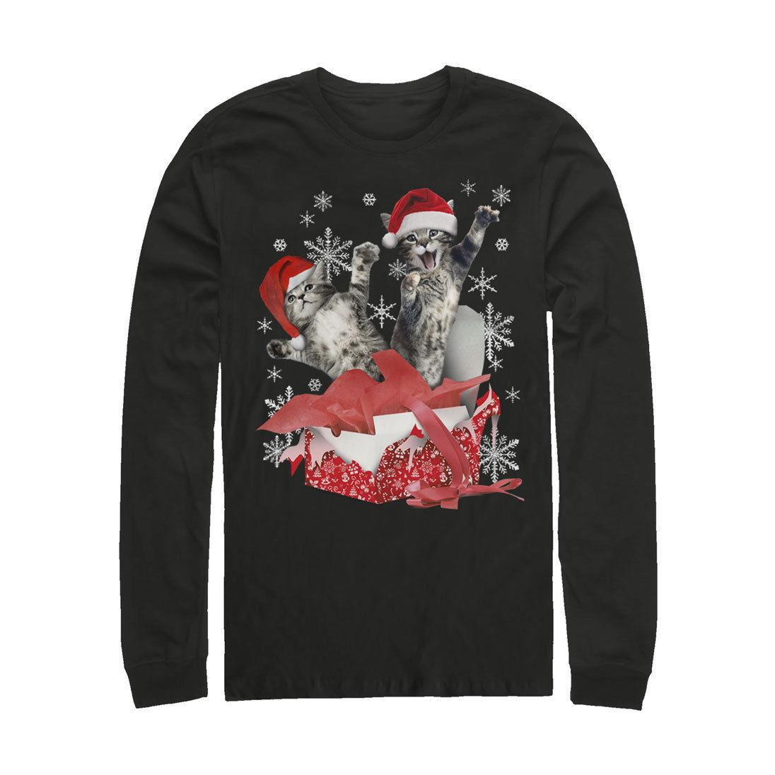 Lost Gods Kitten Ugly Christmas Sweater Surprise Mens Graphic Long ...