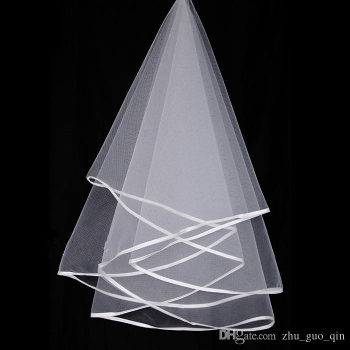 Hot Sale 2 Layer Tulle Crinkle Hem Wedding Veil Short Mantilla Bride Head Accessories Bridal Veils With Comb