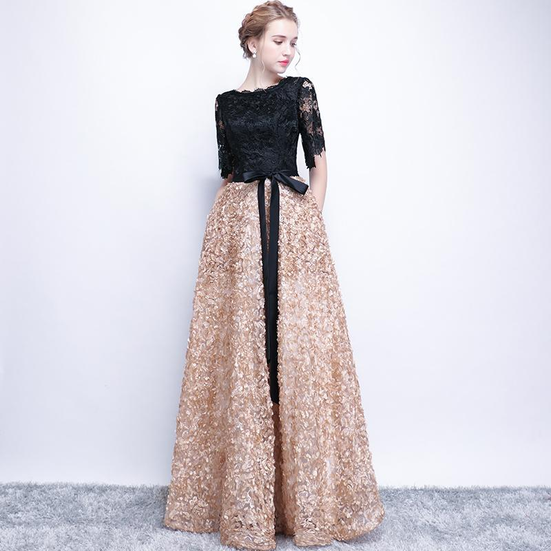 f4e00052f272b 2019 Patchwork Women Long Evening Gowns Lace Hollow Out Sleeve Formal Dress  Wedding A Line Floral Banquet Costumes XS 3XL G232 From Baimu, $135.01 |  DHgate.