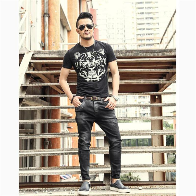 639232d55db Black Skinny Jeans Men Retro Men Jeans Skinny Designer Hole Pants Casual  Mens Business Trousers Male Plus Size A5284 Canada 2019 From Burtom