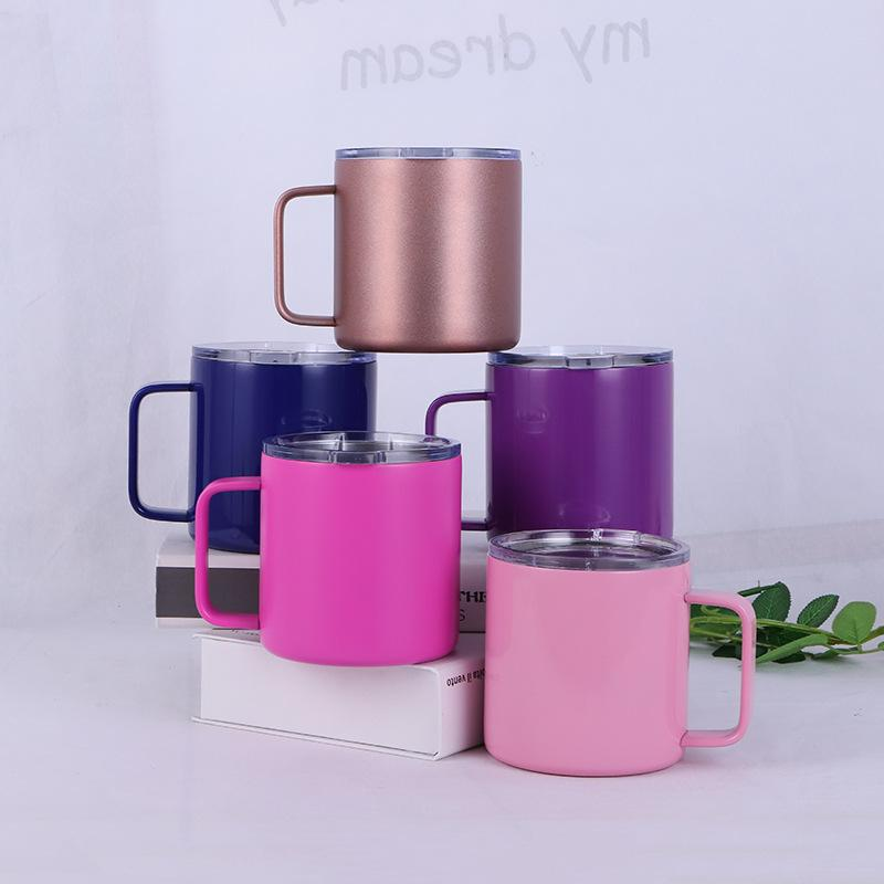 10 oz Stainless Steel Handle Mug 5 Colors Double Wall Tumbler Vacuum  Insulated Coffee Cups Beer Mugs Kids Cup OOA5739