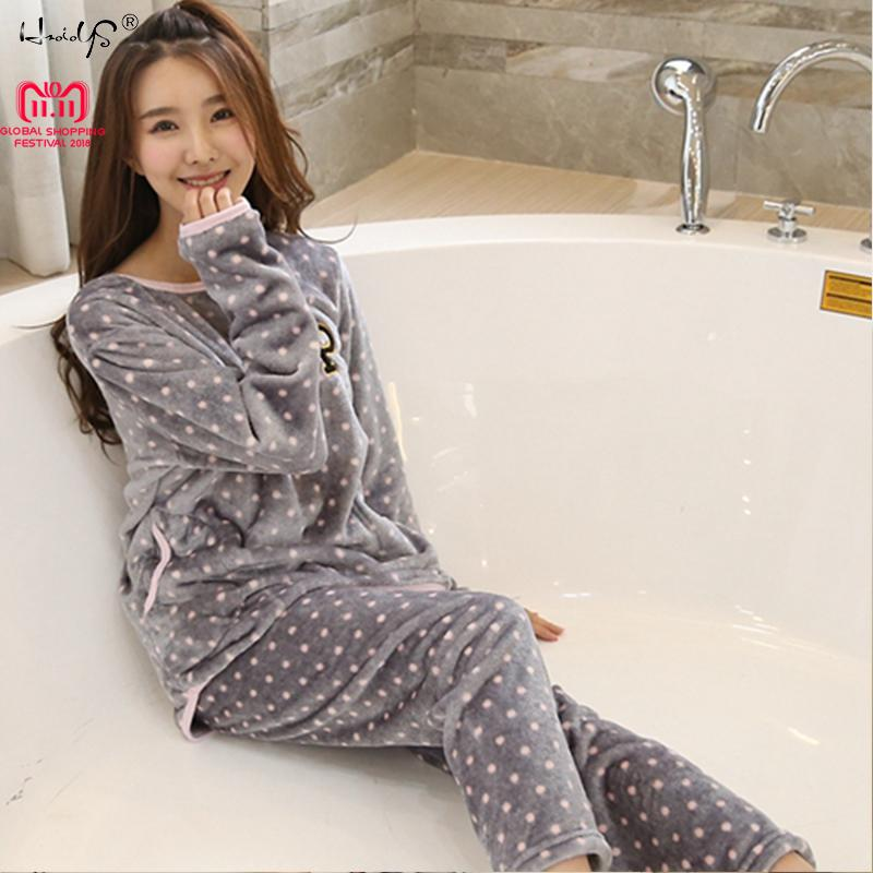 Thick Warm Flannel Pajamas Sets Winter Women Two Piece Pajama Set ... dc9ed70cb
