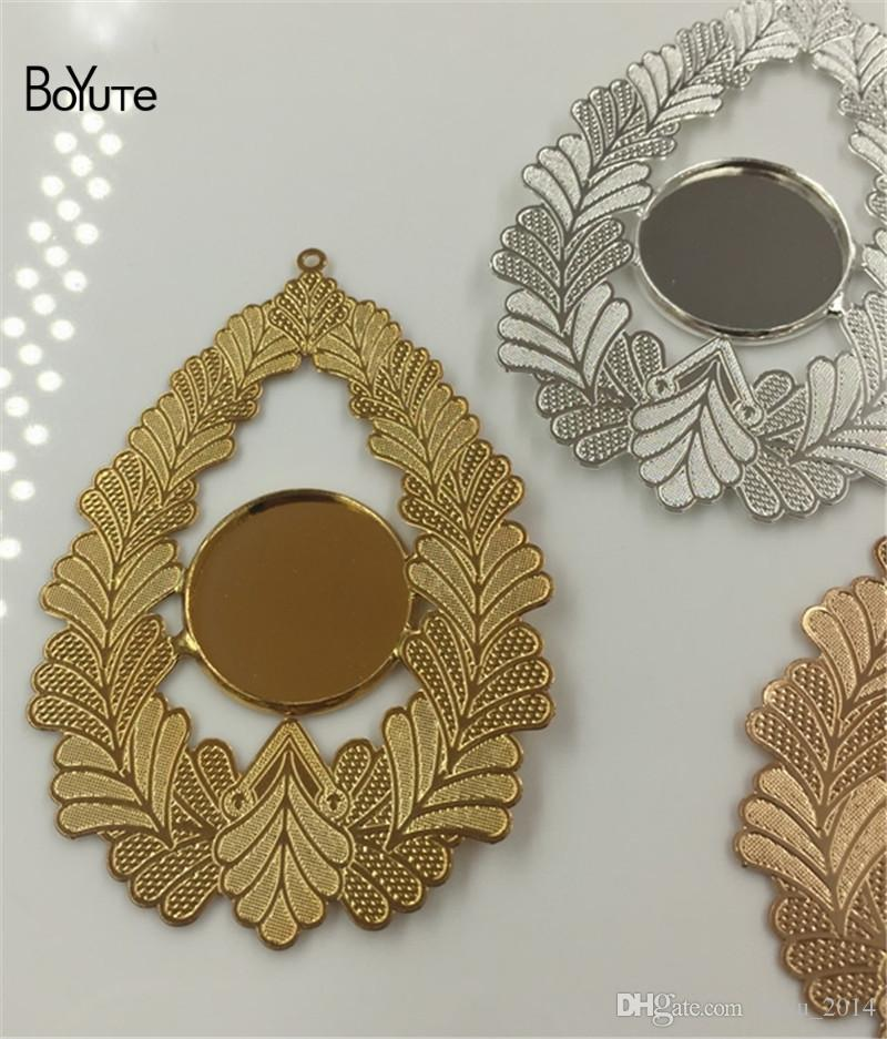 BoYuTe Inner 18MM Cabochon Base Blank Tray Silver Gold Diy Pendant Charms for Jewelry Making
