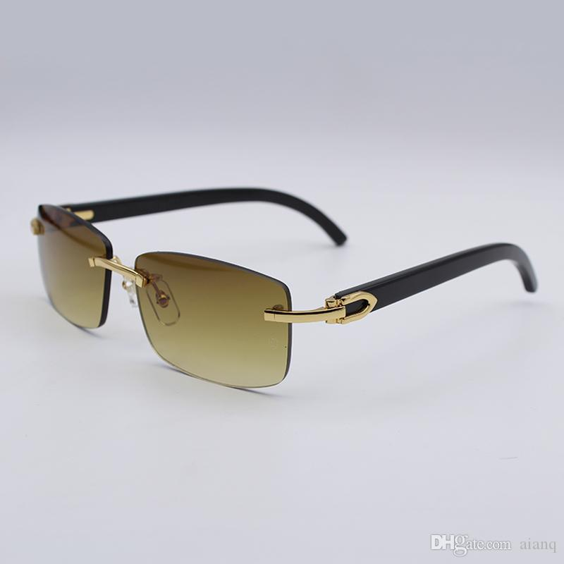 0732856db4eb Brand Designer Black Buffalo Horn Sunglasses Luxury Retro Rimless Real  Buffalo Horn Glasses For Men Women Sun Glasses With Box Case Locs Sunglasses  Suncloud ...