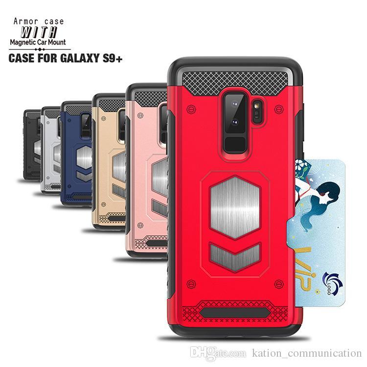 Support en métal support armure téléphone cas combo peut être voiture magnétique décompression pression Creative Housse de protection pour S9 S9PLUS NOTE8 IphoneX