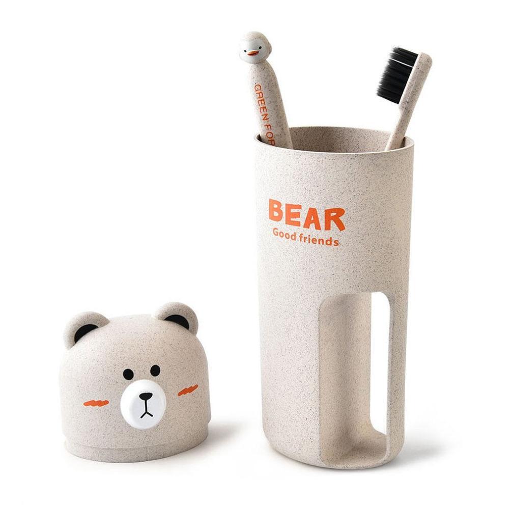 Cute Cartoon Bear Toothbrush Case Set Toothpaste Holder Wash ...