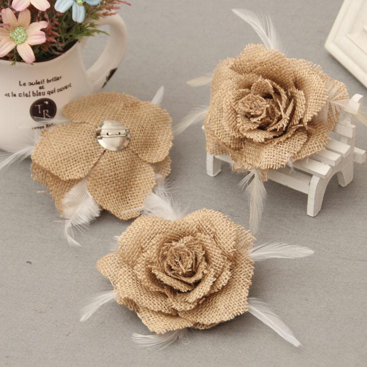 Grosshandel Jute Kunstliche Blumen Stieg Sackleinen Rose Vintage