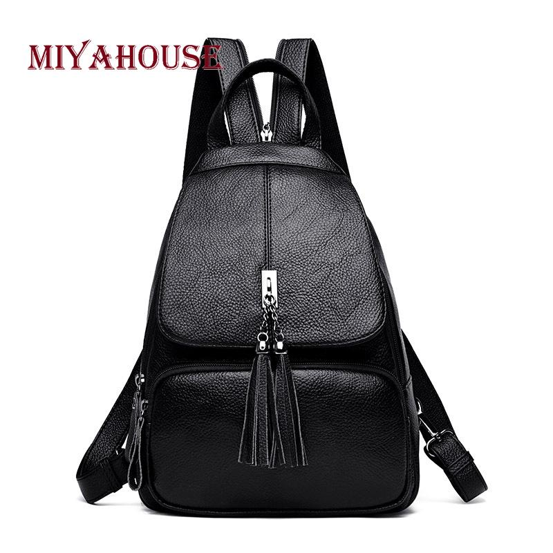 ff6bbe94256703 Miyahouse Tassel Design Backpack For Female Litchi Pattern Solid Color  Rucksack For Women PU Leather Backpack Female Dakine Backpacks Back Pack  From ...