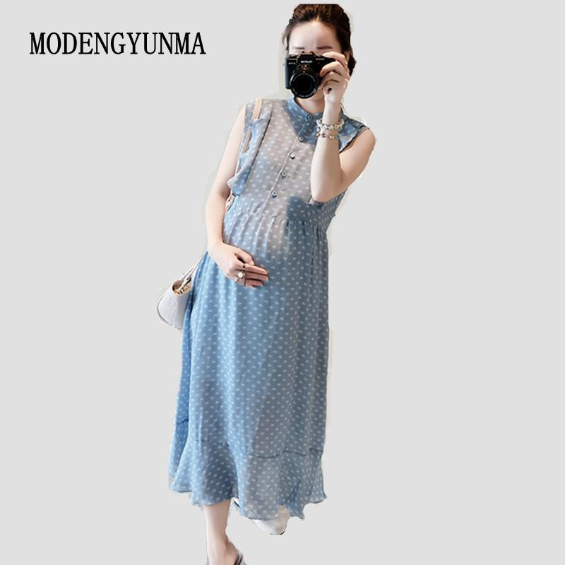 cd8be44fd2 2019 MODENGYUNMA Pregnant Women Midi Pleated Chiffon Dress Pink Polka Dots  Summer Pregnancy Clothes Loose Plus Size Maternity Dresses From Rainbowny