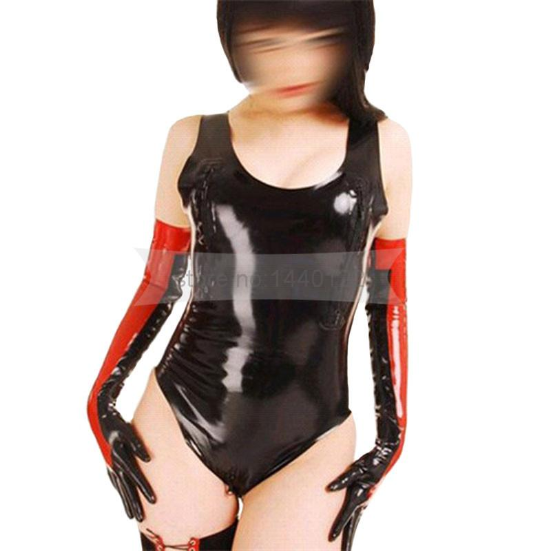 b93a42920 2019 Rubber Latex Catsuit With Two Zips And Long Gloves Latex Sexy ...