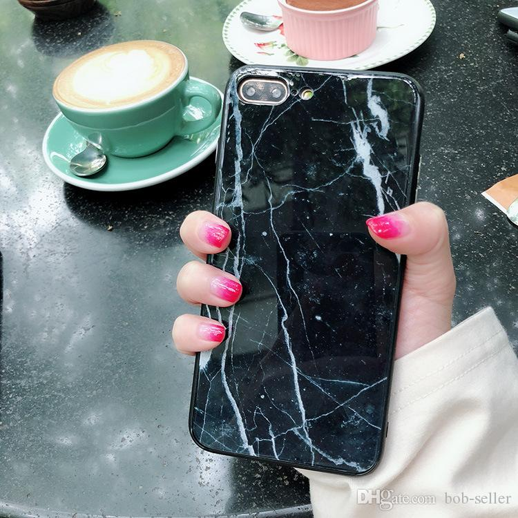 For apple iphone X 8 plus 7 plus Painted PC cell phone cases Colorful Glossy Tempered Glass marble Hard Case Anti-scratch protector