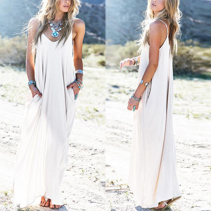 458e6e32c41 Sundress Beach Vestidos 2018 Summer Women Dress Boho Strapless Sexy V Neck  Sleeveless Baggy Long Maxi Dresses Plus Size Floral Maxi Lace Dress Sleeved  ...