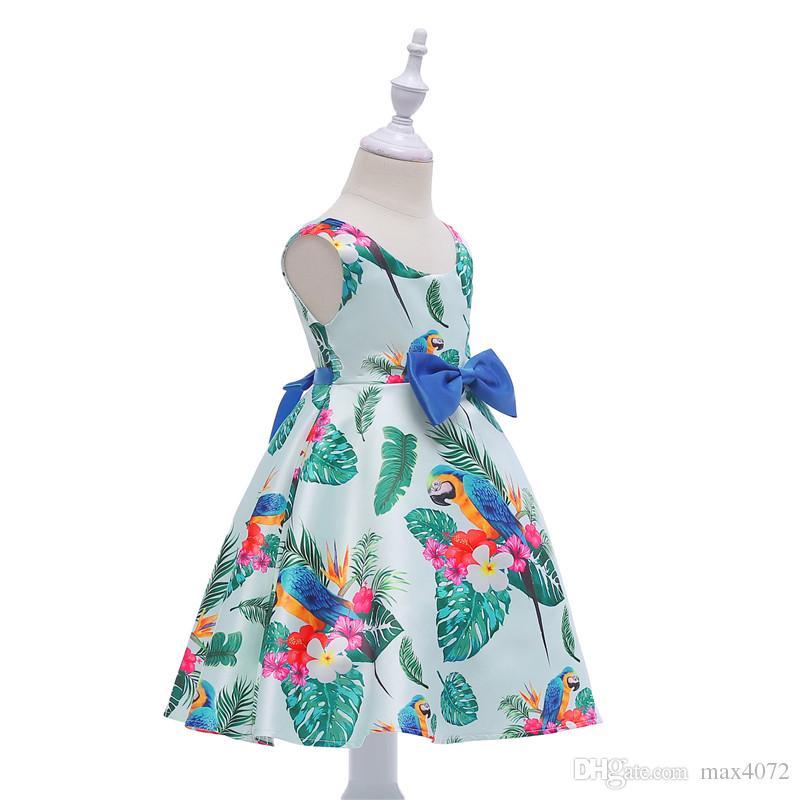 Vestido de niña clásico corto sin mangas hojas verdes pajarita vestido de princesa para 3-10 años niñas niños niños fiesta cena vestido de rendimiento