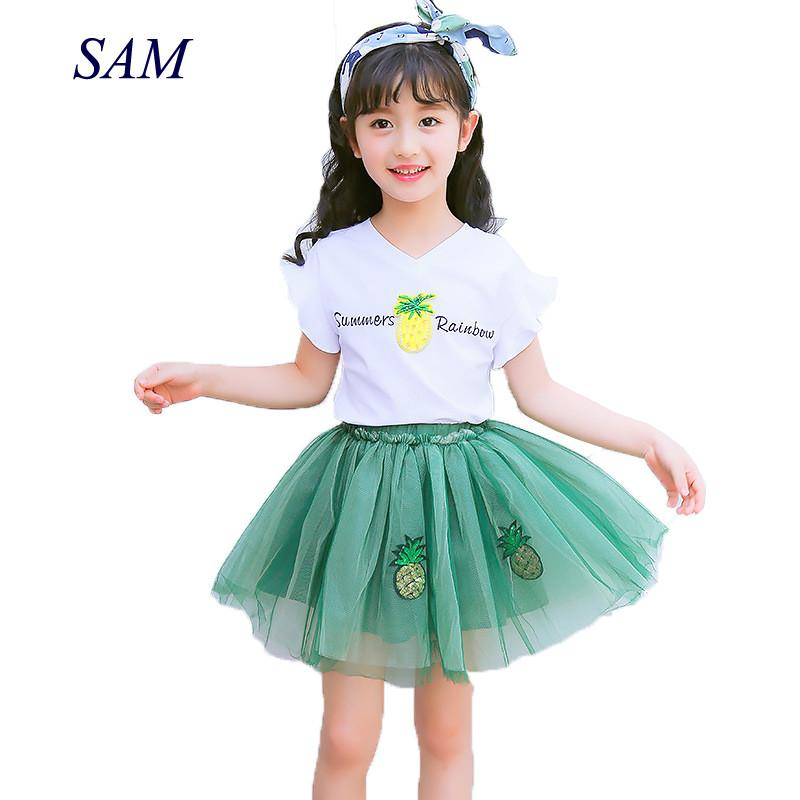 3ad2d0900877 2019 Children'S Clothing Sets 2018 Summer New Girls Candy Colored T Shirt  +Skirt Suit Kids Mesh Princess Dress Clothes Sets From Friendhi, $22.64 |  DHgate.