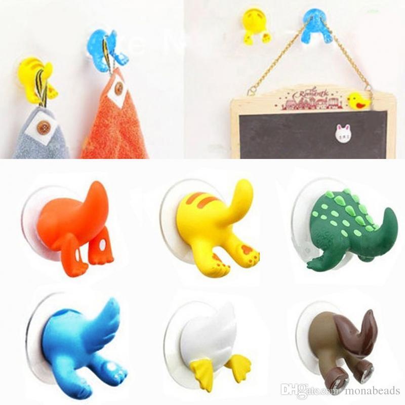 Historieta encantadora Animal Tail Sucker Hook Towel Hanger Ventosa Holder Clothes Key Hanger Bath Kitchen Accessories /