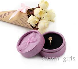 5.5 * 3.5 cm Bow Cadeau Boîtes À Bijoux Anneau Boîtes Pour Vente Boîtes à Boucles D'oreilles Princesse Couronne Boîte À Bijoux En Gros Ronde En Carton