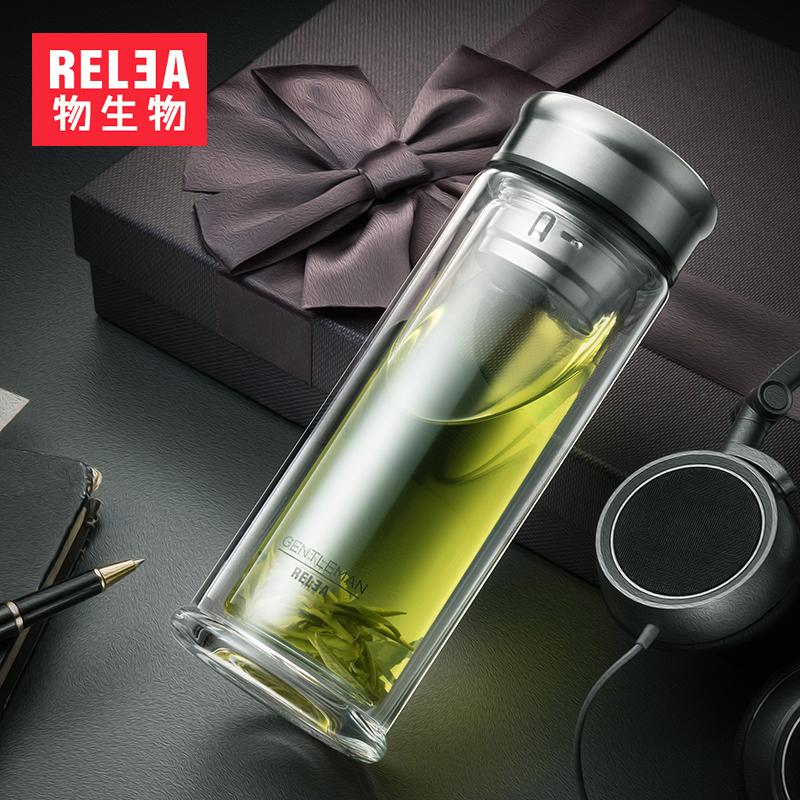 76a4fc6694 Portable Crystal Flask Water Infuser Glass Tumbler Double Wall Borosilicate  Glass Bottle Stainless Steel Filter Bottle Reusable Stainless Steel Water  ...