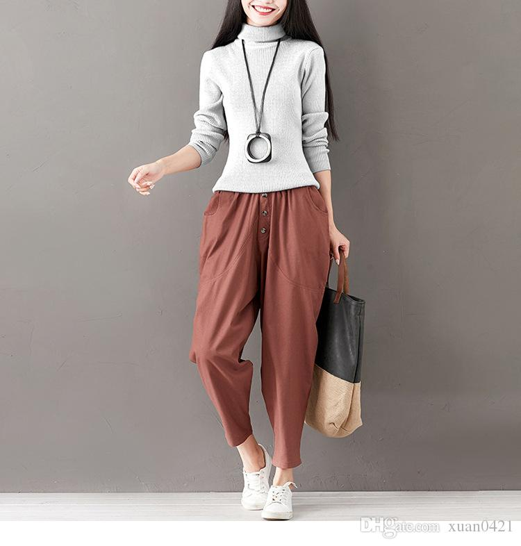 New elastic waist casual cotton and linen loose nine pants women's fashion high waist pants women