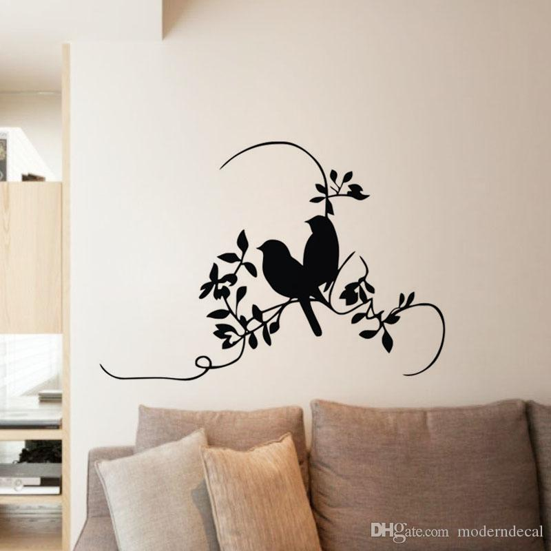 Plant Tree And Birds Wall Sticker For Bedroom Romantic Wall Decorative  Vinyl Wall Decals Removable