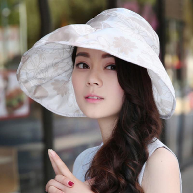 Printed Floral Summer Hat For Women Sports Lady Sun Protection Beach Hat  Female Girl Cap Visor Panama Chapeau Femme Headwear Felt Hat From Xiacao 7486f21275a