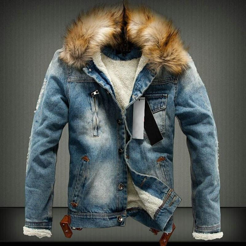 New 2018 Fur Collar Men Casual Denim Jacket Winter Men Parkas Casual Denim Jacket Thick Free Shipping Warm Coat