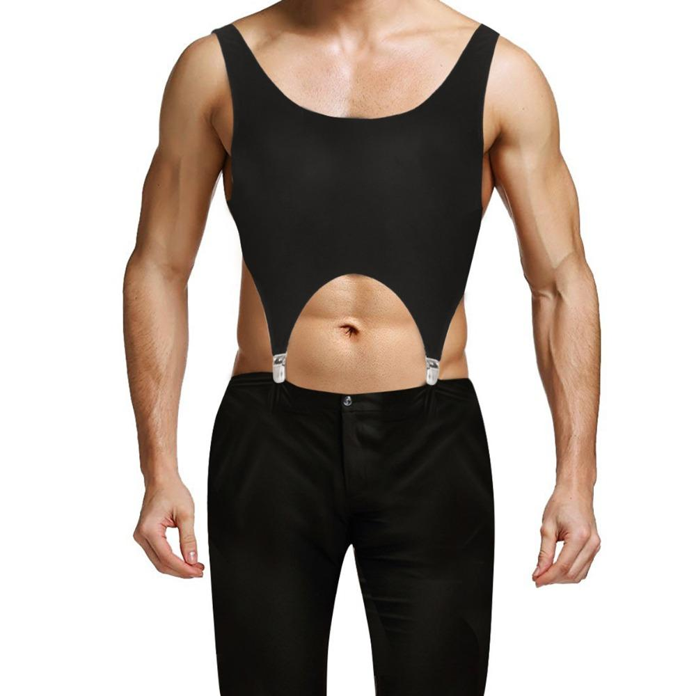 51560e0ead170d 2019 2018 New Black Mens Sleeveless Top Men Pullover Muscle Low Back Sport  Vest Corset Tank Tops With Garters Metal Clips Clubwear From Mangosteeng