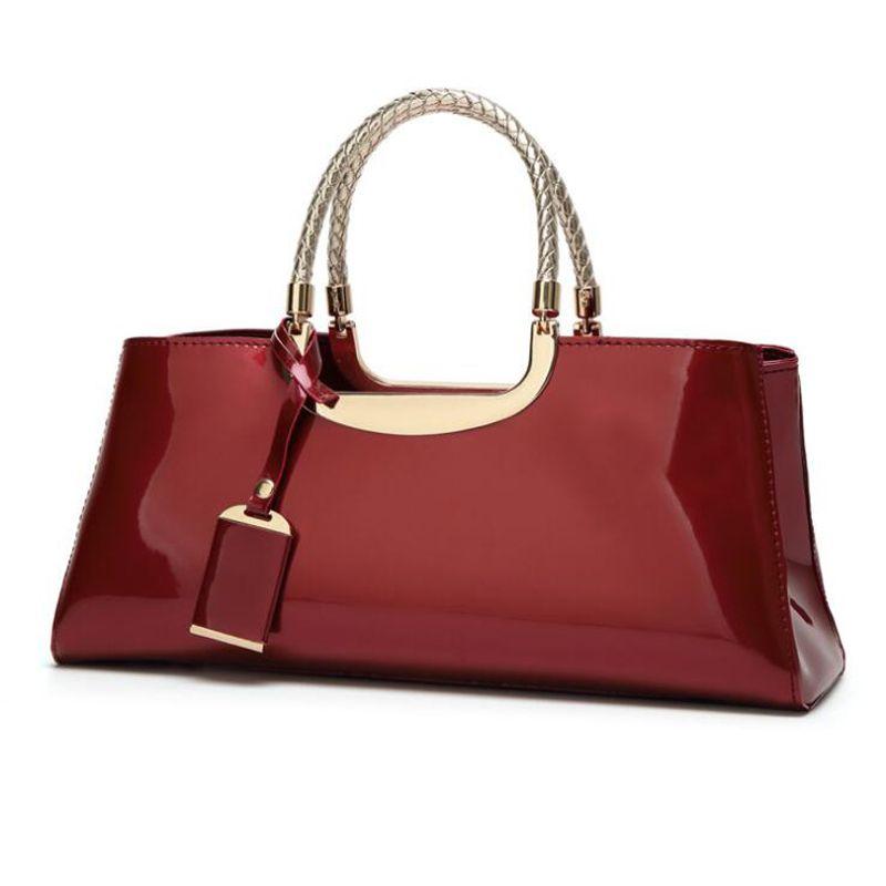 New 2018 Women Handbags Patent Leather Fashion Bride Bags Women ... d88a6efa9e621