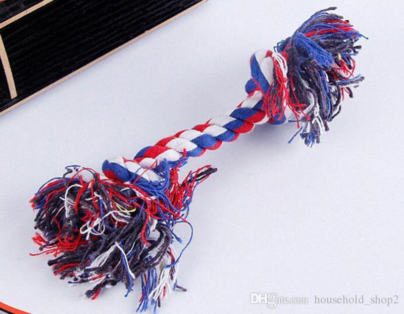 Mascotas perro Algodón Chews Nudo Juguetes colorido Durable Cuerda de Hueso Trenzado 18 CM Divertido gato del perro Juguetes