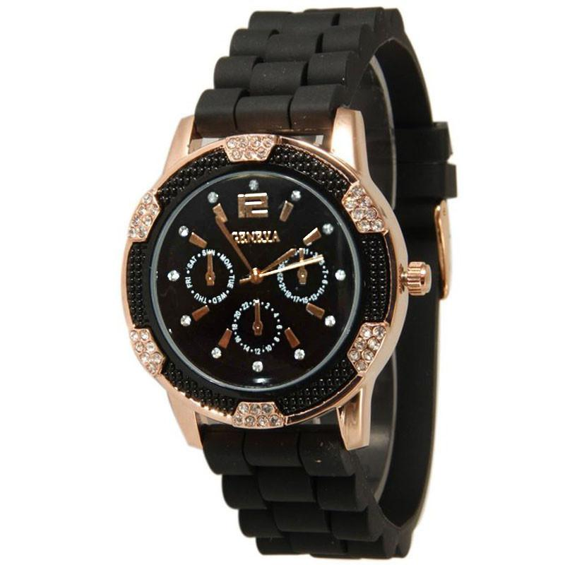 Black&White  Women's Rose Gold Buckle Chronograph Time Silicone Crystal Rhinestones Bezel Sports Watch