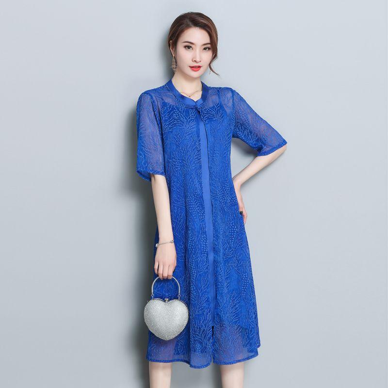 Blue dress with cardigan women natural silk 2 piece Chinese retro dresses  plus size 3xl robe vintage elegant print clothes