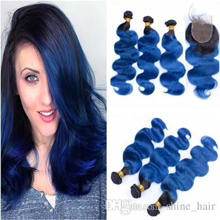 Ombre Blue Brazilian Human Hair Bundle Deals with Closure Dark Rooted 1B/Blue Ombre Virgin Brazilian Human Hair Weaves with 4x4 Lace Closure