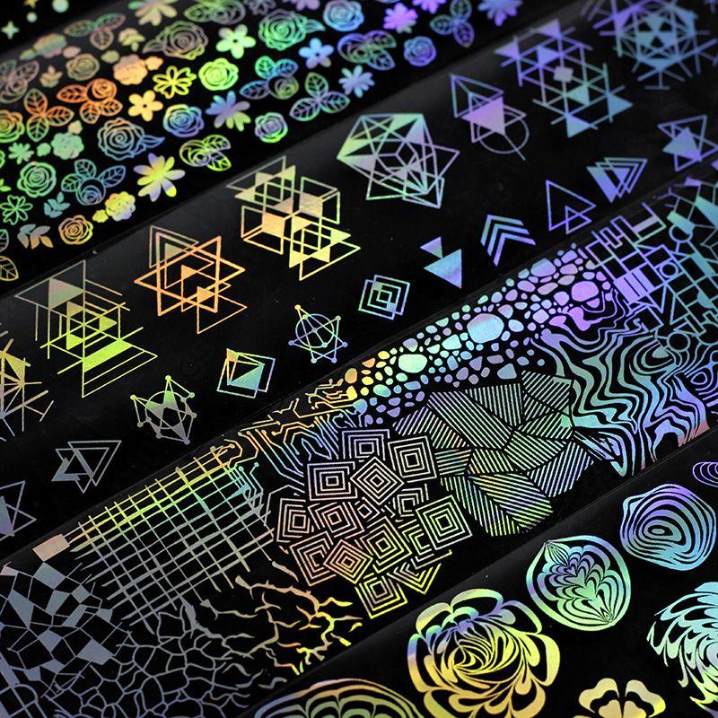 Láminas de uñas holográficas Láser flor Dreamcatcher Patrones mixtos Galaxy Manicure Nail Art Transfer Sticker Set para Navidad Fiesta de Halloween
