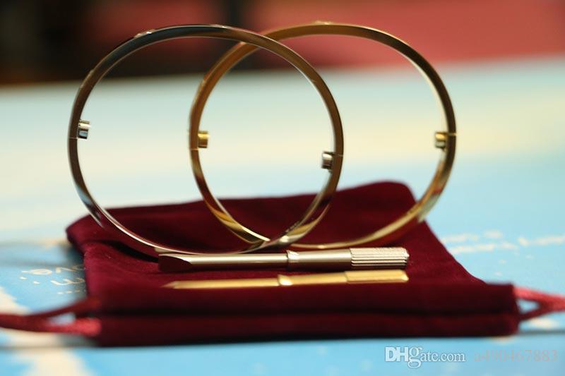 Paslanmaz Çelik carter Aşk Bilezikler gümüş gül altın kaplama Bilezik Kadın Erkek Vida Tornavida Bilezik Çift Takı hediye