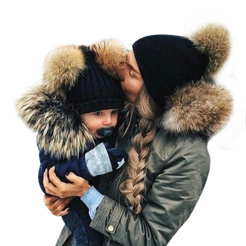 7f156171549 2019 2017 Adult Baby Beanies Double Faux Fur PomPom Hat Winter Women Boy  Girls Warm Hats Newborn Kids Cute Striped Knit Earmuffs Cap From Pekoe