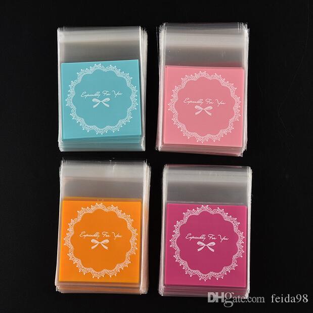 Горячие продажи OPP пластиковый пакет мешок прекрасный розовый или синий лук дизайн торт подарочные пакеты конфеты пакет бумаги бесплатная доставка GA17