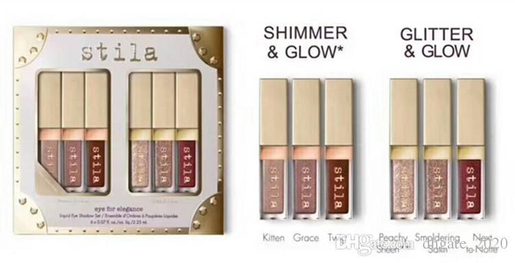 DISPONIBILE!!! Eye For Elegance set Shimmer Glitter Liquid EyeShadow 6 pz Set da viaggio tavolozze trucco DHL
