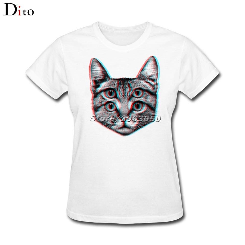 4367a525e Women's Tee 3d Fantasy Cat Four Eyes T Shirt Women Woman Screen Printing  White Short Sleeve Custom Big Size Family Camiseta